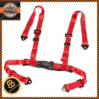 Red Seat Belt Racing Harness 4 Point Car Universal Design Includes Fittings