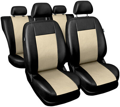 Car seat covers fit SAAB 9.3 - Eco-leather black/beige