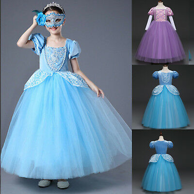 Cinderella Princess Costume Kids Girls Cosplay Party School Tulle Fancy Dress