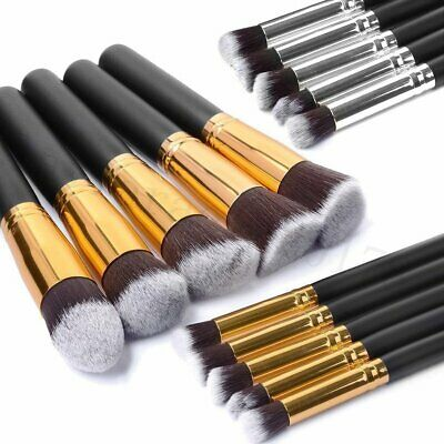 10 PCS Professional Kabuki Make-up Brush Foundation Blusher Face Powder Brushes
