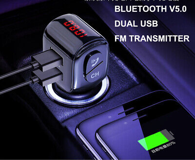 Bluetooth FM Transmitter Car Kit Mp3 Player USB Car Charger for iPhone X Samsung