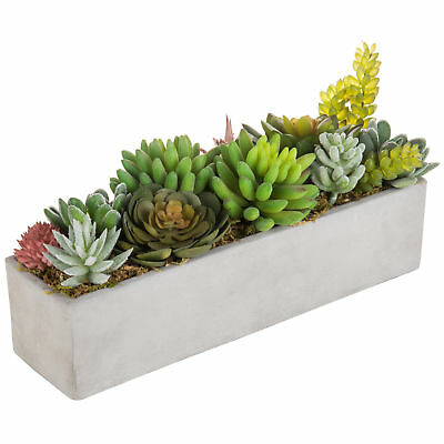 MyGift Faux Succulent Plant Arrangement in 12-Inch Gray Cement Pot