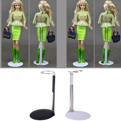 2Pcs Adjustable Metal Holders 5.1 - 8.3'' for Doll Display Black+White