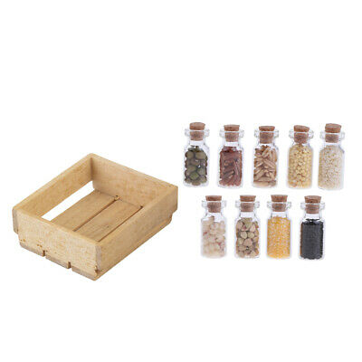1/12 Dolls House Mini Wood Tray Dried Food Glass Jars Kitchen Shop Accessory