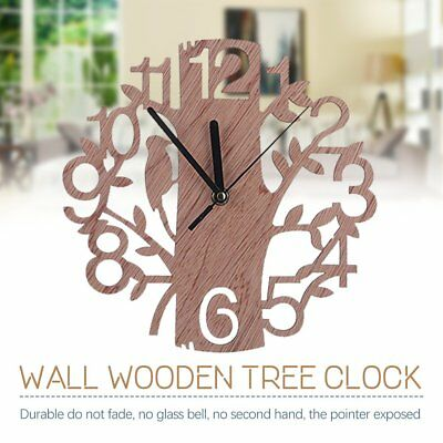 22cm Wall Clock Large Modern Vintage Rustic Wooden Home Kitchen Silent Quartz 8S