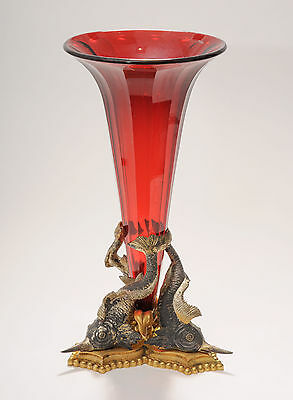 Antique Large 19th Century French Gilt Bronze & Ruby Glass Vase Centerpiece