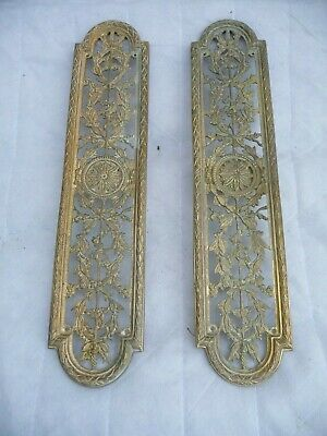 Vintage Pair French Brass Large Pierced Floral Door Finger Plates Aged Finish