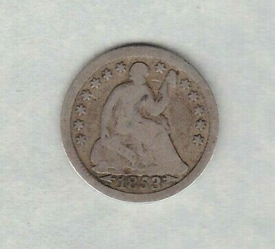 1853 Usa Silver Half Dime In A Used Condition