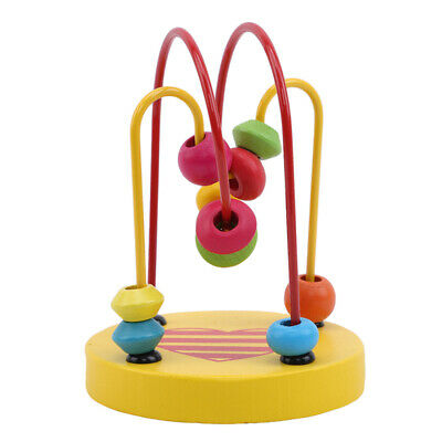 Children Kids Baby Colorful Wooden Mini Around Beads Educational Game Toy FW