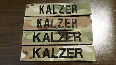 """US Army """"Kalzer"""" Nametag / Name plate sew-on OCP patch set  (4 piece set)"""