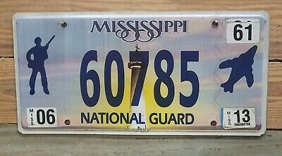 Mississippi Lighthouse 2013 National Guard License Plate / Tag - 60785 ~ Flat