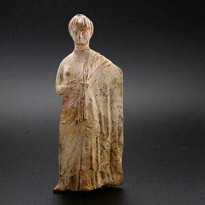A Boeotian Tanagra Terracotta Figure of a Lady, Hellenistic Period, ca. 4th Cent