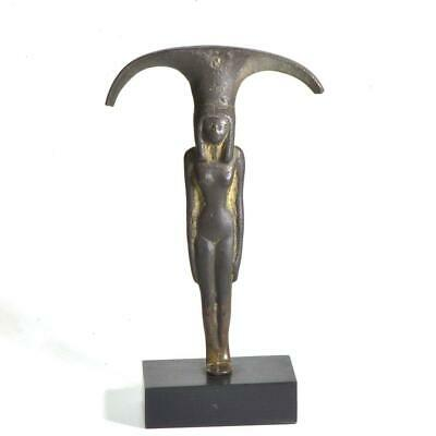 An Egyptian Bronze Mirror Handle of a Nude Woman, 18th Dynasty, ca. 1550-1295 BC