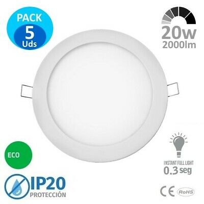 5x Downlight LED 20w Redondo Blanco 2000lm