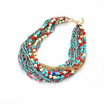 Exaggerated Multilayer Chain Bohemia Beads Statement Choker Chunky Necklace