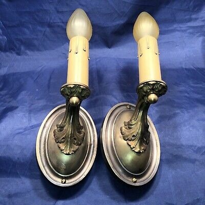 Antique Pair Brass Sconces Rewired Electric Candle Wall Lights 38C