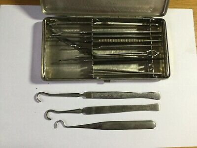 12 Vintage  dentist ,medical, tools,  (for crafts, taxidermy), Down Bros. box