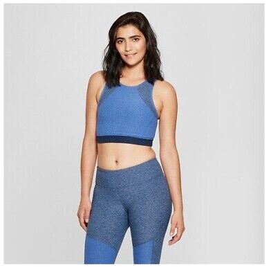 4d2e6be14bd JoyLab Women's High Neck Long Line Sports Bra Crop Top - Dark Denim Blue -  XL