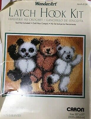 Caron Latch Hook Kit 4128 DANCING Teddy BEARS 20 x 27 Panda Polar Brown