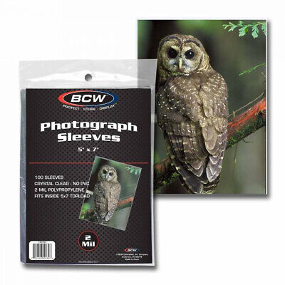 (5000) Bcw 5X7 Soft Poly 2 Mil Photo Print Postcard Storage Display Sleeves