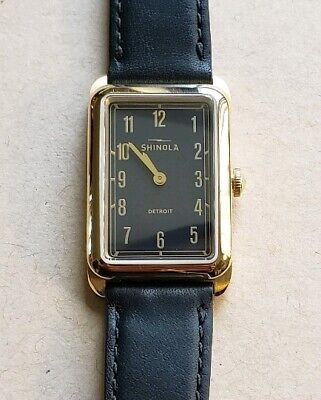 d5226dc99 Shinola Muldowney Watch With 24 x 32mm Black Face Black Leather Band