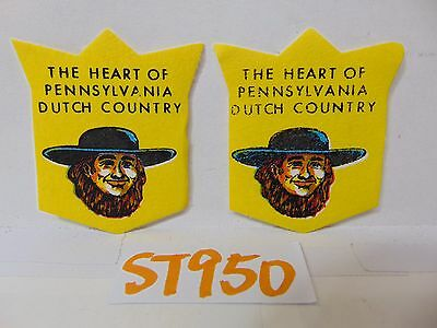 """2 Vintage 1960'S Felt Patch Hippie Cool """"The Heart Of Pennsylvania Dutch Country"""