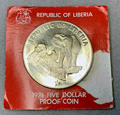1974 Republic of Liberia $5 Silver Proof Coin Sealed in Original Holder