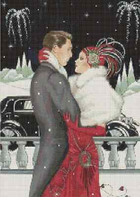 Art Deco Couple Happy New Year! Counted Cross Stitch COMPLETE KIT No.1-62