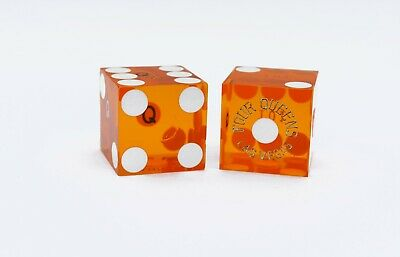 Authentic PAIR OF FOUR QUEENS LAS VEGAS CASINO DICE - clear YELLOW - numbered