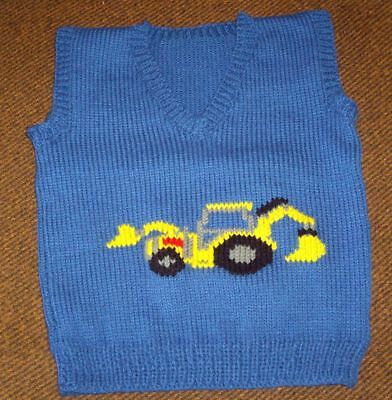 Digger Vest   ..New Size 3-4 Hand Knitted