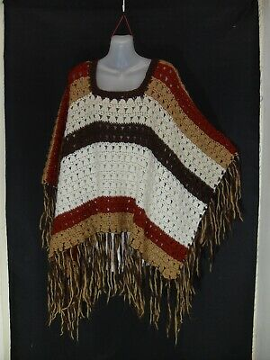 1970's Vintage Crocheted Poncho with Fringe.