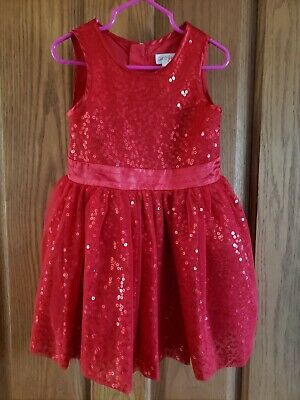 ba9fa63d529f Cat & Jack Toddler Girl's Red Size 3T Sleeveless Red Sparkle Sequin Dress
