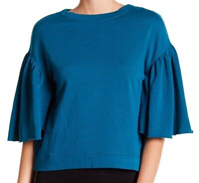 bfaa1d51 Abound NEW Teal Blue Womens Size XXS Ruffle-Sleeve Fleece-Line Knit Top 201