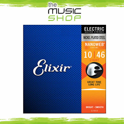 12 Sets of Elixir Nanoweb 10-46 Coated Electric Guitar Strings - 12052, Bulk Box