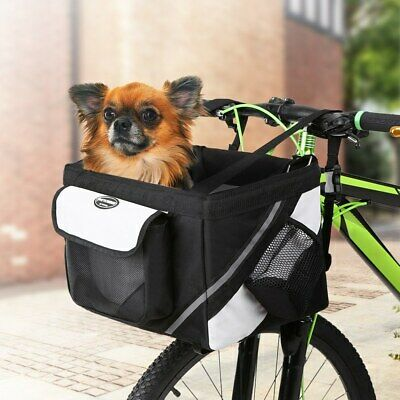 Pet Dog Cat Carrier Bicycle Handlebar Basket Bike Front Bag Box