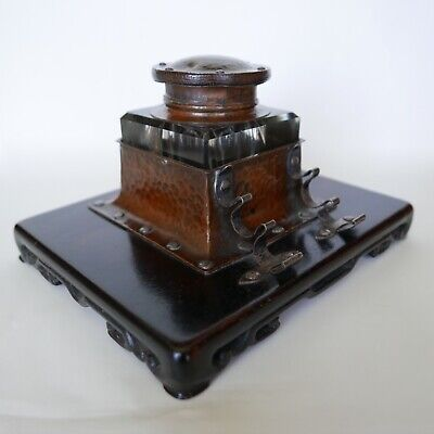 Shreve & Co., Arts & Crafts Wrought copper, sterling and glass inkwell. Rare!!