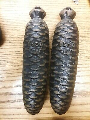 Vintage Cast Iron PineCone Cuckoo Clock Weight Part 1500  3 Lb 5 Oz roughly each