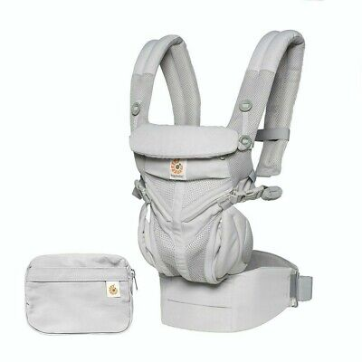 Ergobaby Carrier, Omni 360 All in One Baby Carrier w/ Pouch (Pearl Grey,Black)