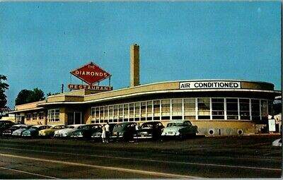 1950'S. The Diamonds. Restaurant. Route 66, Villa Ridge, Mo. Postcard Ck2