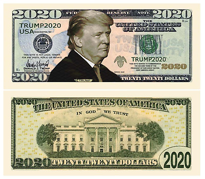 Pack of 10 - Trump 2020 Dollar Bill Presidential MAGA Novelty Money with Holders