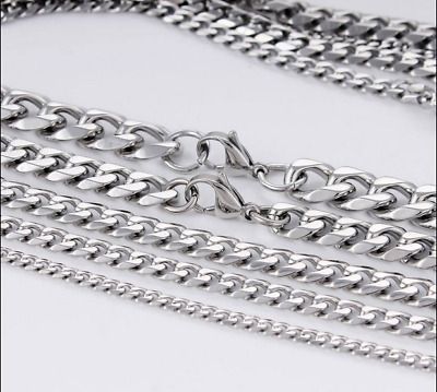 "18""-36"" Stainless Steel Silver Tone Chain Cuban Curb Men's Necklace 3/5/7/11mm"