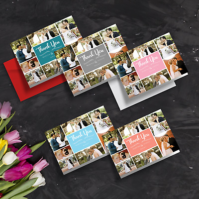 Personalised Folded Wedding Photo Collage Thank You Card + Envelope (Pack of A6)