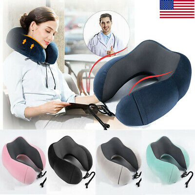 Memory Foam U-shaped Airplane Travel Head Rest Pillow Neck Support  Soft Cushion