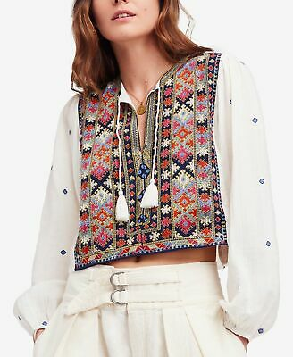4e9252bb Free People NEW White Ivory Women Size Small S Enter Loveland Crop Top  $168- 018