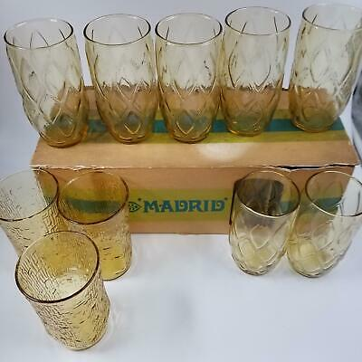 Vintage 1970s Anchor Hocking Madrid Pagoda 10 Glasses Tumblers Honey Gold Amber