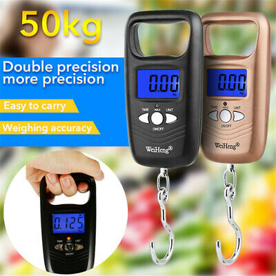 Pocket Portable Mini 50kg LCD Digital Fish Hanging Luggage Weight Hook Scale