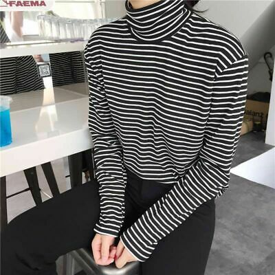 Autumn Lady Turtleneck Striped Blouse Women Long Sleeve Slim Tops T-shirt Tee