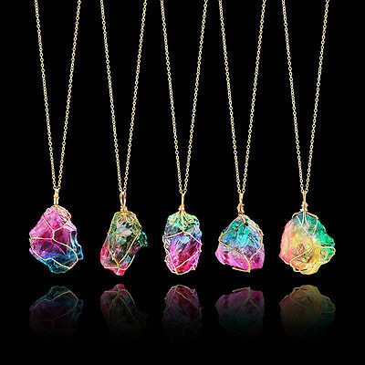 Rainbow Stone Natural Charm Crystal Chakra Necklace Gold Plated Quartz Pendant~