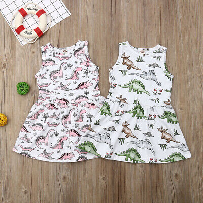 AU Toddler Baby Girls Kids Dinosaur Casual Sleeveless Short Dress Skirt Clothes