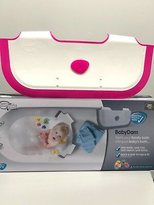 Ex Display, Still Boxed BabyDam Bathwater Barrier Baby Tub - White/Pink